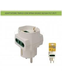 Adattatore riduttore triplo spina shuko 10/16A P17 2P/T con 2 prese bipasso e 1 presa shuko bianco