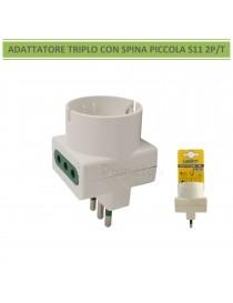 Adattatore triplo spina piccola S11 2P/T con 2 prese 10A e 1 presa shuko bianco