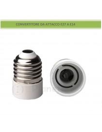 Adattatore convertitore da attacco grande E27 a piccolo E14 portalampada riduttore bianco 220V per lampadina