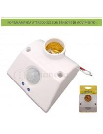 Portalampada attacco grande E27 con sensore di movimento rivelatore presenza timer bianco accensione automatica