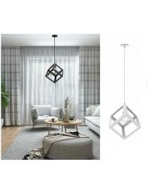 Lampadario a sospensione cubo attacco E27 pendente cubico design moderno bianco nero portalampada geometrico in metallo