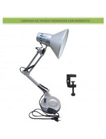 Lampada da scrivania argento luce led E27 in metallo flessibile pieghevole snodabile con morsetto lume tavolo moderno