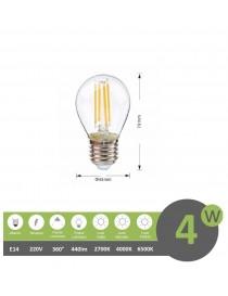 Lampadina filamento led G45 4w attacco grande E27 globo bulbo sfera luce bianca naturale calda