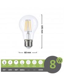 Lampadina filamento led 8w A60 bulbo attacco grande E27 sfera trasparente luce fredda bianca 6500k