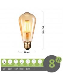 Lampadina led filamento vintage 8w attacco grande E27 lineare tubolare ambra luce calda 2600k