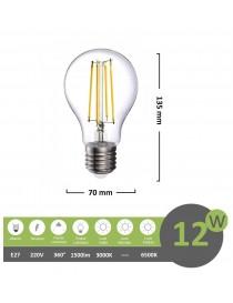 Lampadina led filamento A70 12w attacco grande E27 bulbo sfera palla trasparente luce calda bianca