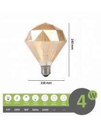 Lampadina filamento led attacco grande E27 4W cristallo diamante ambra lampada decorativa vintage luce calda