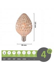 Lampadina filamento led attacco grande E27 4W goccia pigna ambra effetto cristallo lampada decorativa vintage luce calda