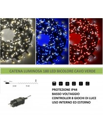 Catena di luci bicolore Natale 180 led serie luminosa natalizie cavo verde albero feste decorativa luce bianco rosso blu calda