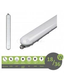 Plafoniera led 18 36w 60 120 cm lampada lineare soffitto impermeabile da esterno tenuta stagna luce integrato bianca naturale