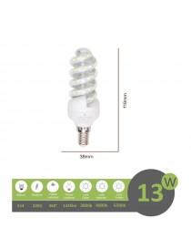 Lampadina led E14 13w tortiglione vortice luce spirale attacco piccolo bianca fredda naturale calda