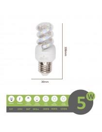 Lampadina led E27 5w tortiglione vortice luce spirale attacco grande bianca fredda naturale calda