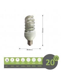 Lampadina led E27 20w tortiglione vortice luce spirale attacco grande bianca fredda naturale calda