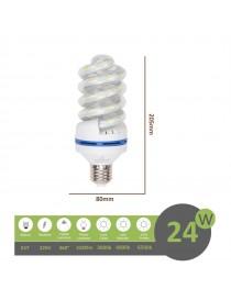 Lampadina led E27 24w tortiglione vortice luce spirale attacco grande bianca fredda naturale calda