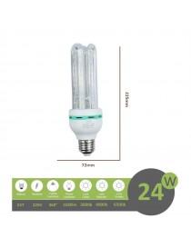 Lampadina led E27 24w 4U tubo attacco grande luce tubolare lineare bianca fredda naturale calda