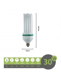 Lampadina led E27 30w 4U luce tubolare tubo attacco grande lineare bianca fredda naturale calda