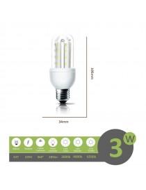Lampadina led E27 3w 2U luce tubolare tubo attacco grande lineare bianca fredda naturale calda