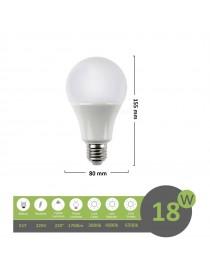 Lampadina led bulbo E27 18w A80 luce attacco grande bianca naturale calda