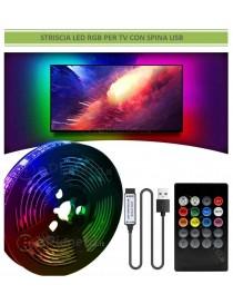Strip striscia led luce RGB 3 5m per TV televisore retroilluminazione multicolore musicale con telecomando con alimentatore USB