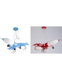 Lampadario sospensione bambino aereo Jet celeste rosso cameretta pendente led